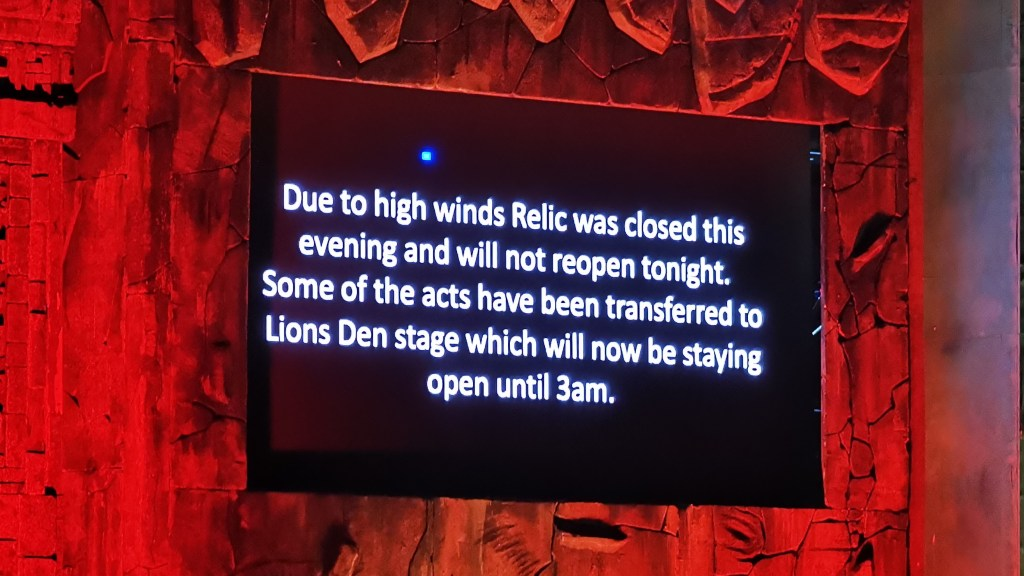 Relic Closed sign Boomtown Fair 2019