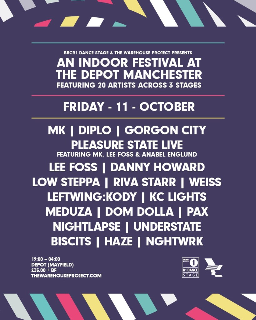 BBC Radio 1 Dance Stage at The Warehouse Project Manchester line-up poster
