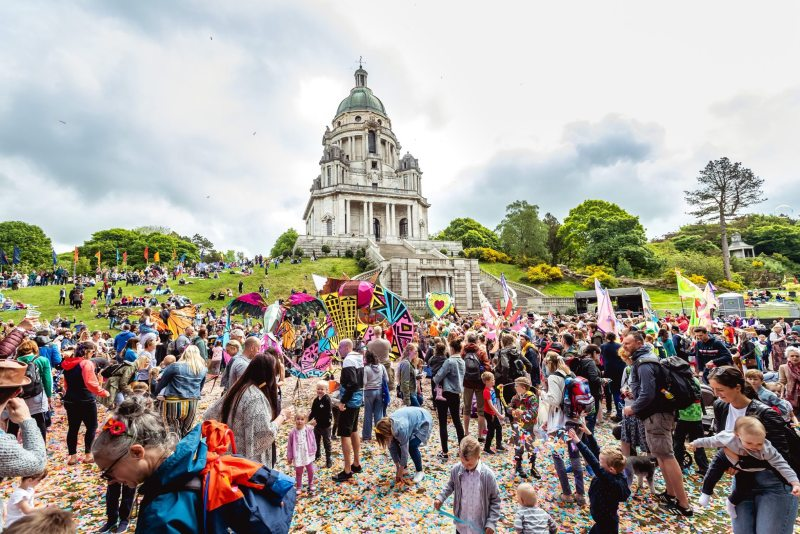 Big Family Day Out Highest Point Lancaster Crowd Dancing Williamson Park