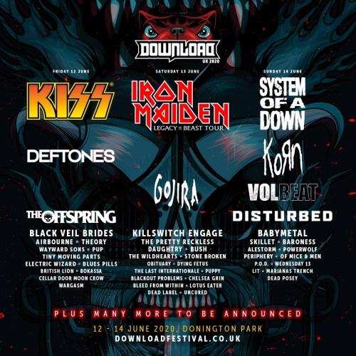 Download Festival 2020 line-up poster
