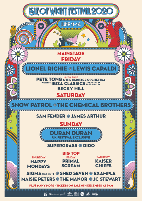 isle of wight festival 2020 line-up poster