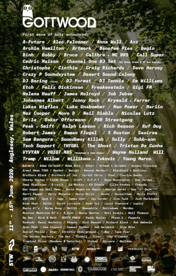Gottwood 2020 line-up poster