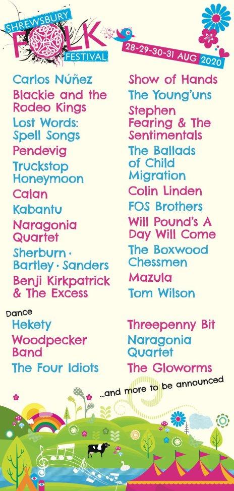 Shrewsbury Folk Festival 2020 line-up poster