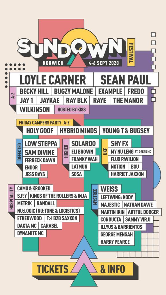 Sundown Festival 2020 line-up poster