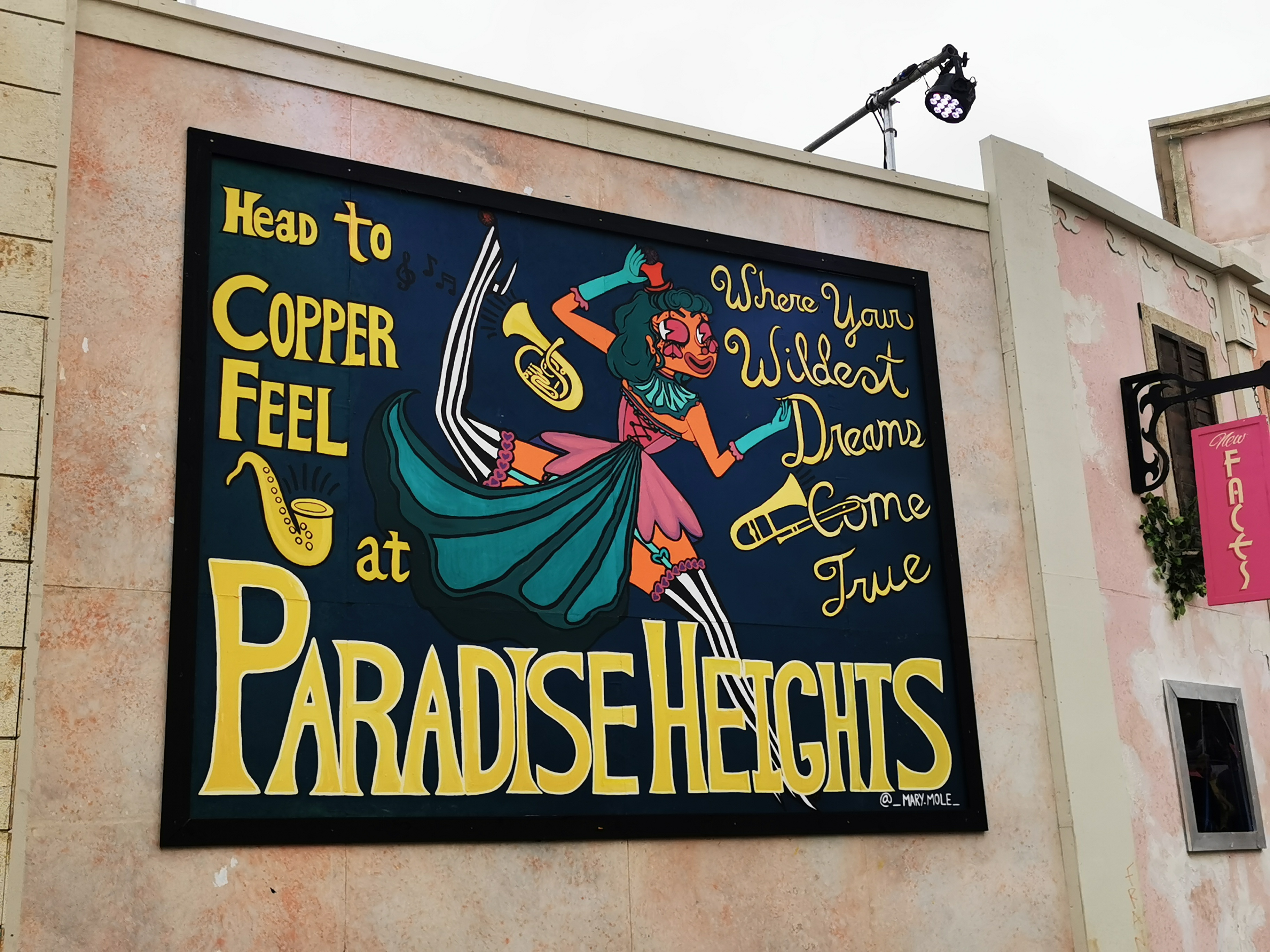 Paradise Heights Copper Feel sign Boomtown Fair