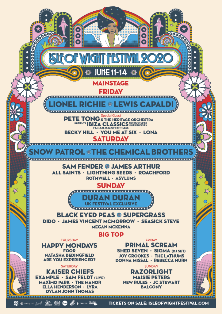 Isle of Wight Festival 2020 line-up poster day splits