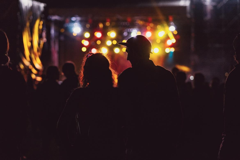 Generic festival crowd couple