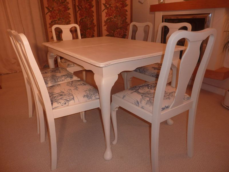 Shabby Chic Extendable Dining Table With 6 Chairs-Painted