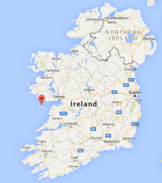 Map of Aran Islands off the west coast of Ireland