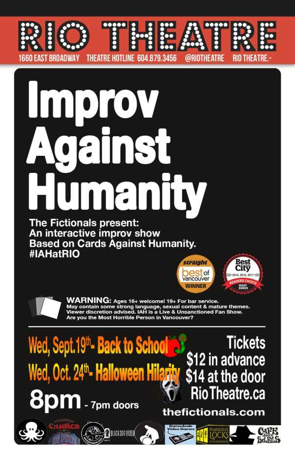 Improv Against Humanity - September and October 2018