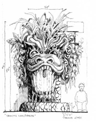 Sketch of the Drooling Dragon by Tres Fromme. Image courtesy Longwood Gardens.