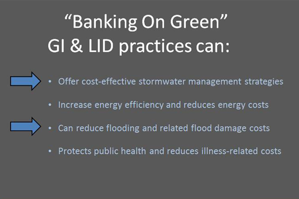 """Summary of the economic benefit categories that are highlighted in the """"Banking on Green"""" report. image: Martha Sheils"""