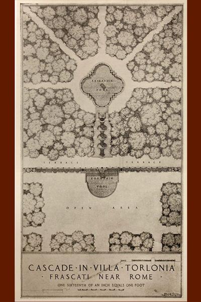 Villa Torlonia, Frascati, sepia drawing of the garden by Edward Lawson, circa 1917