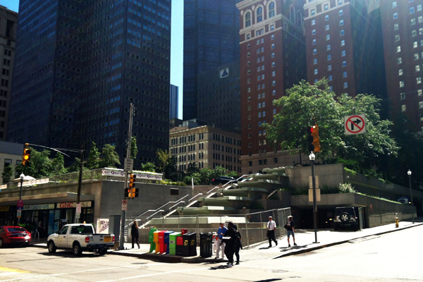 Construction on the terraced fountain underway at Mellon Square, July 2013. image: Caeli M. Tolar