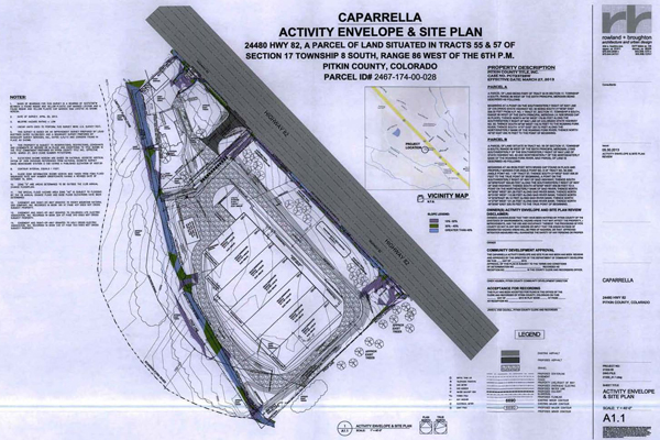 Site plan of approved grow operation under construction just outside the town of Basalt, Colorado. Image taken from Caparrella Activity Envelope & Site Plan, as submitted to Pitkin County
