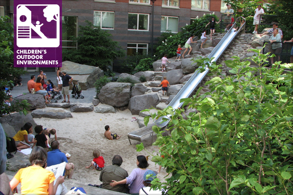 Teardrop Park, New York. 2009 General Design Honor Award Winner. The 14-foot long custom-made stainless steel slide, rested on the side of a bowled land form, and the Wooden Step Seats (foreground) create a social microcosm shared by sliders, climbers, onlookers, diggers, and New York Times readers.  image: Nilda Cosco, Natural Learning Initiative, College of Design, NC State University, Raleigh, NC