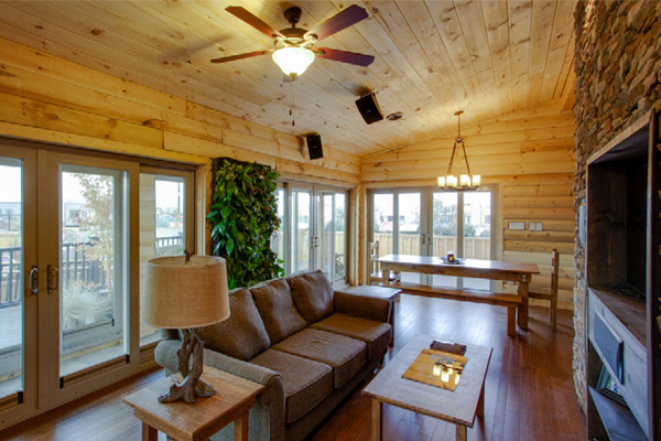Inside the WVU Solar Decathlon house, an 18-sq. ft. living wall is included to help remove pollutants in the air, ultimately improving the indoor air quality of the home. image: John Wray, Team WVU / U.S. Department of Energy Solar Decathlon