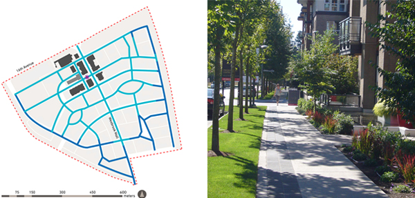 Map: Five-minute (light blue) and ten-minute (dark blue) walking distances from the village center. Photo: A sidewalk along Wesbrook Mall. image: Cynthia Girling