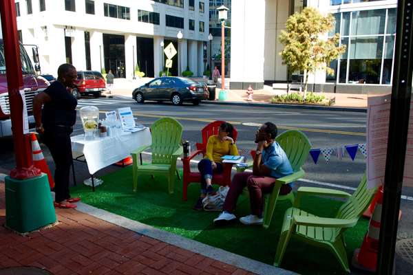 The American Public Health Association's parklet featured a hydration station and other resources image: Alexandra Hay