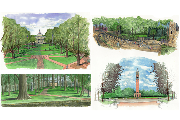 Watercolors by Peter L. Schaudt, Dignity of Restraint. Clockwise from upper left: Polk Place, Forest Theater, Bell Tower and McCorkle Place. image: courtesy of Hoerr Schaudt