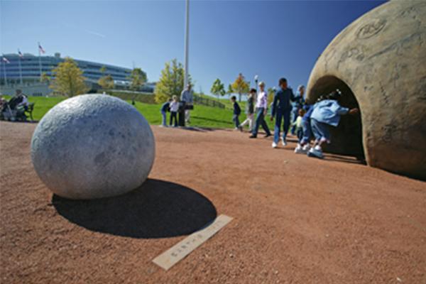 Cultural Earth and moon sculpture, Children's Garden image: courtesy of Hoerr Schaudt