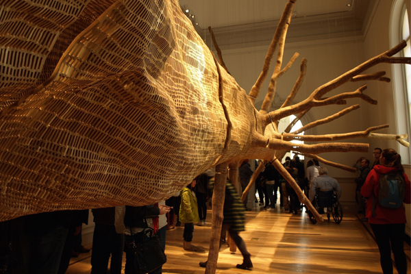 """""""Middle Fork"""" on opening day at the Renwick, packed with visitors image: Alexandra Hay"""