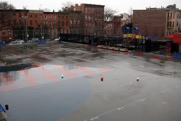 PS 261 before renovations. The Trust for Public Land converted the asphalt schoolyard at Brooklyn's Public School 261 into a greenspace open to the public after school and on weekends. image: Mary Alice Lee
