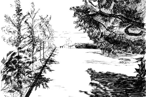 West-facing view from gate entrance, Greenwood Common, Berkeley, CA image: drawn by Da Hyi Ku