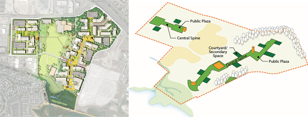 To support a high-tech research environment, the Berkeley Global Campus prioritized planning a robust landscape network. This strategy encouraged community building and occupant well-being by establishing a programmed central spine that allowed researchers to run into each other, exchange ideas, and enjoy the scenic wetland environment. image: Katharyn Hurd, Andrew Sullivan