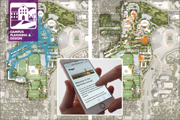 In campus planning, technology offers new ways to gather and interpret data. The Page discovery tool is an online survey tool developed by our office that allows students, faculty, and staff to share their favorite places to eat, study, and play as well as their preferred routes through campus. It also helps to flag areas that aren't working for the campus and should be addressed in future planning. image: Katharyn Hurd, Andrew Sullivan