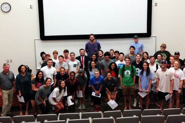The proud author on the left with his first class of students image: John Anderson