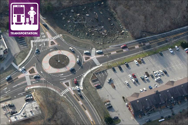 Roundabouts - Routes 82 and 85 in Salem, CT / image: Connecticut Department of Transportation