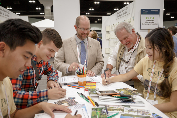 Sketches for the activity books being made at the 2017 ASLA Annual Meeting and EXPO in Los Angeles / image: EPNAC