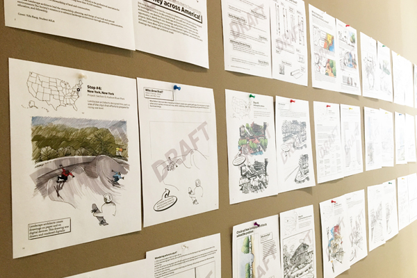 Drafts pinned up for review at the ASLA Center for Landscape Architecture in Washington, DC / image: Shawn Balon, ASLA