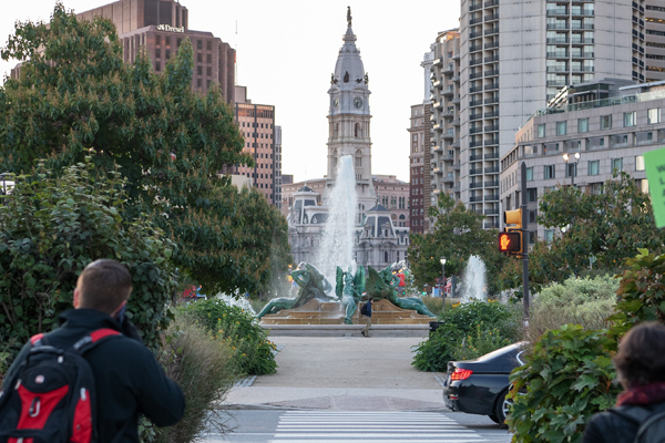 Logan Circle's Swann Memorial Fountain and Philadelphia's City Hall in the distance / image: EPNAC