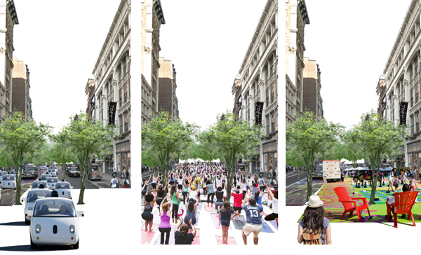 Autonomous vehicles have the potential to redefine the future streetscape, as described in Yadan Luo, ASLA's 2018 SPOTLIGHT presentation, Adaptation Strategies: Infrastructure Flexibility for Resilient Communities and Autonomous Vehicles / image: Yadan Luo