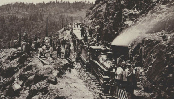 Chinese immigrant laborers building the Transcontinental Railroad