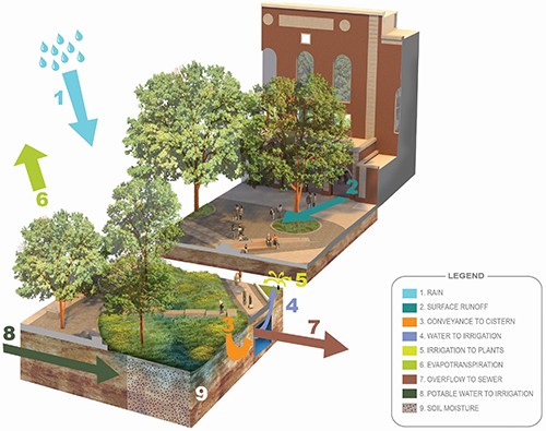 Shoemaker Green's water balance diagram, showing the site's urban water cycle. Photo credit: Andropogon Associates