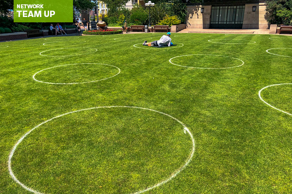 Social distancing circles in a park