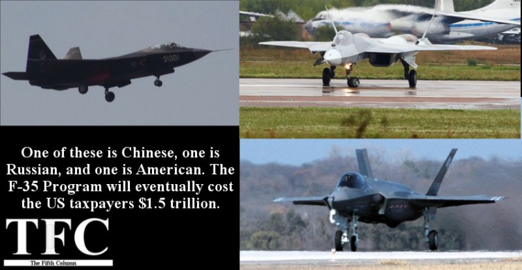 F-35 copies and clones. Image credits: 天剣2 (Top Left), Rulexip (Top Right), DOD (Bottom Right)