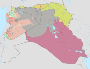 """""""Syria and Iraq 2014-onward War map"""" by Haghal Jagul"""