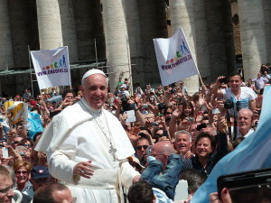 """Pope Francis among the people at St. Peter's Square - 12 May 2013"" by Edgar Jiménez from Porto, Portugal"