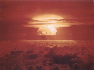 Nuclear weapon test Bravo (yield 15 Mt) on Bikini Atoll. The test was part of the Operation Castle. The Bravo event was an experimental thermonuclear device surface event. Source: Department of Energy