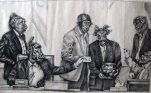 Atena's cartoon depicting members of the Iranian parliament as animals voting on the prohibition of voluntary permanent contraception, or vasectomies. Image taken from 'Free Atena' Facebook page.