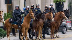 Photo credit Jordan Freshour. The mounted portion of police. Some from Columbus Police and Ohio State University police.