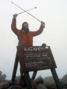 Brenton Lengel summiting Katahdin, Aug. 2008