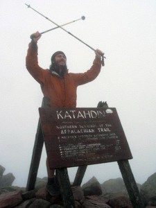 Brenton Lengel summiting Katahdin, Aug. 2008