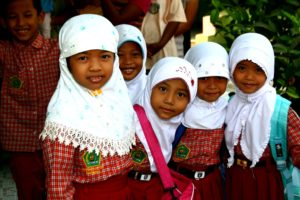 Six grade girls students in indonesia young indonesian girs face