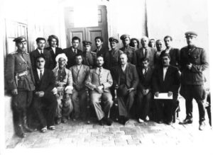 The Kurdish Mahabad Republic was established in 1947. President Qazi Muhammad is in the middle. Photo from Wikimedia Commons, part of the public domain.