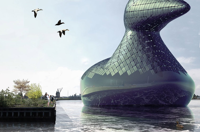 The Energy Duck, proposed for Copenhagen harbour by artists Hareth Pochee, Adam Khan, Louis Leger and Patrick Fryer. 2014 Land Art Generator Initiative